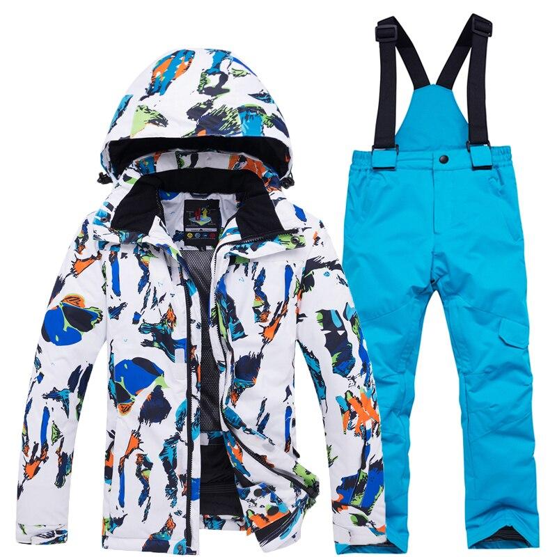 Яркий детский зимний костюм, комплекты для сноуборда, водонепроницаемая зимняя спортивная Лыжная куртка для улицы и штаны на бретелях для мальчиков и девочек|Лыжные куртки|   | АлиЭкспресс