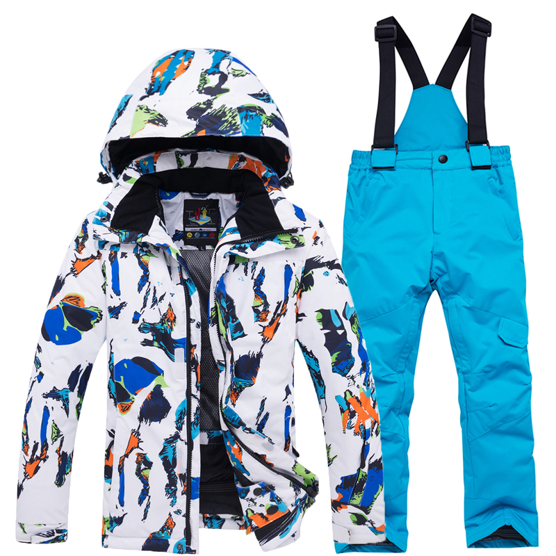 Colorful Children's Snow Suit Wear Snowboarding Sets Waterproof Winter Outdoor Sports Ski Jacket And Strap Pant For Boy And Girl
