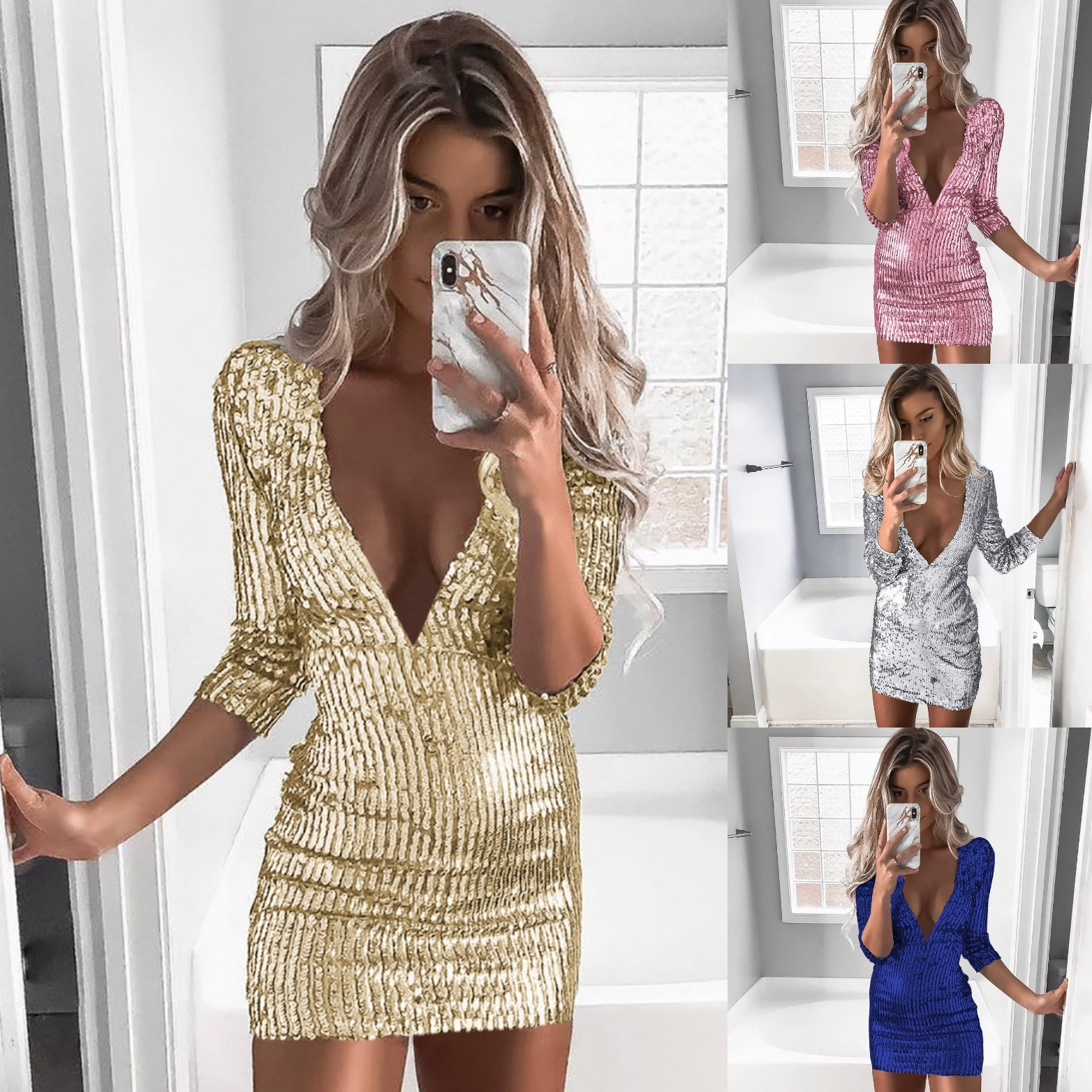 BacklakeGirls Sparkle Mini Cocktail Dresses Straight Sexy V-Neck Full Sleeve Sequined Short Party Dresses Vestido Coctel