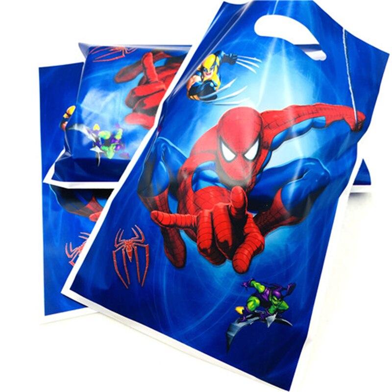 10 шт./пакет с человеком-пауком подарок мешок с персонажем из мультфильмов высокого качества подарки для тематической вечеринки детское пла...