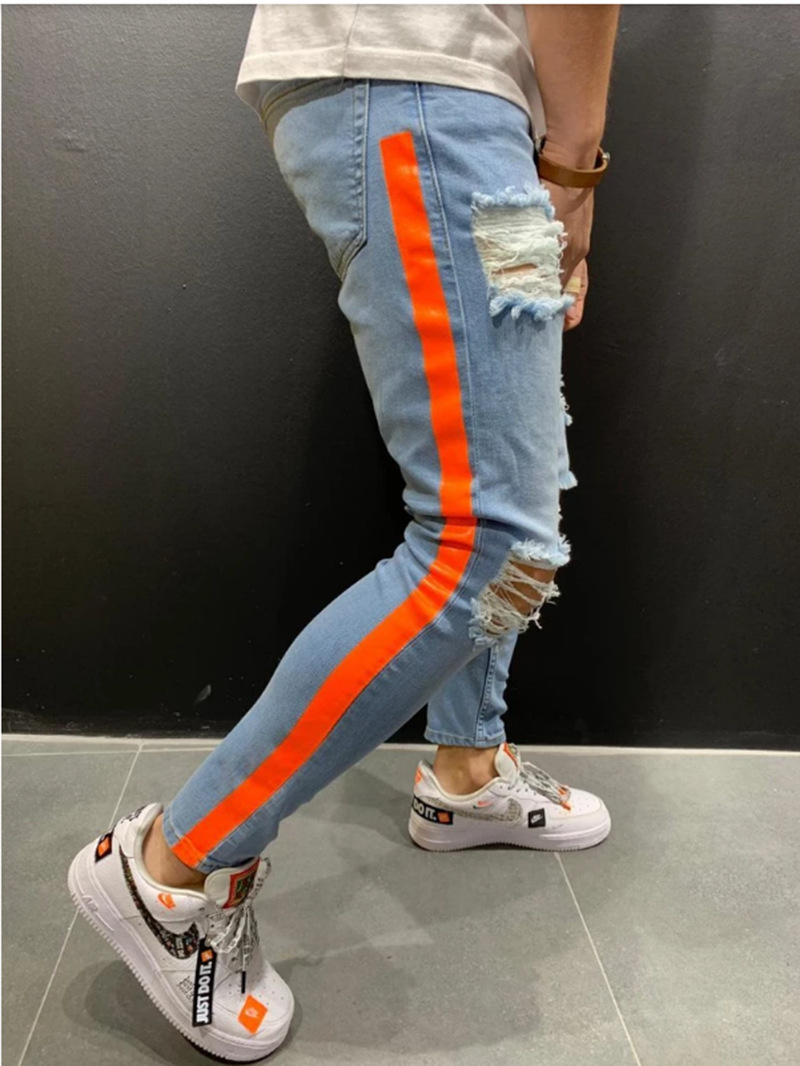 Men Stretchy Ripped Skinny Biker Side Striped Print Jeans Destroyed Hole Taped Slim Fit Denim Scratched High Quality Jean