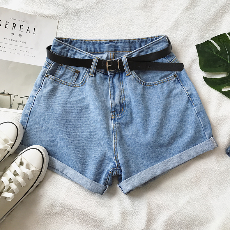 H7a94740c9d9a48ad87bc758387831ae1T - Women Summer Shorts Fashion Free Belt High Waist Loose Casual Slim Denim Shorts Women Shorts Jeans mujer femme Korea Shorts