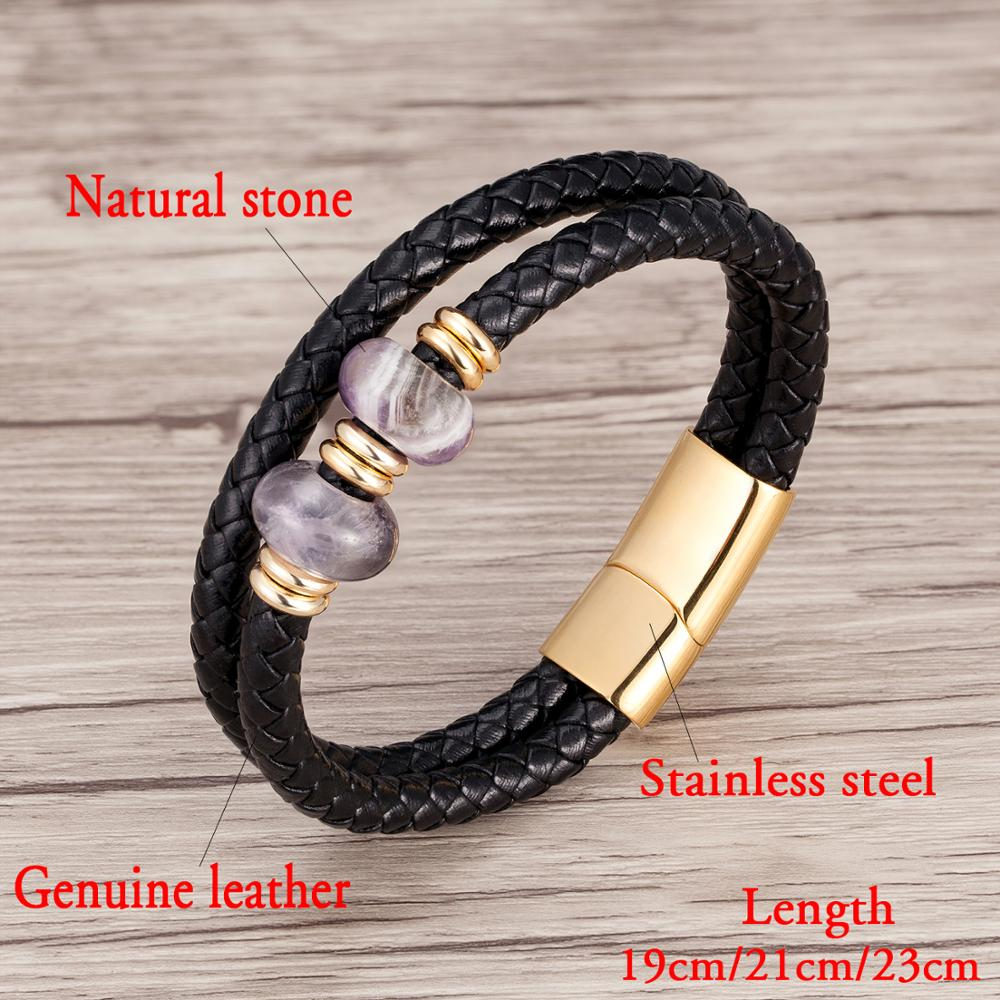 High Quality Genuine Leather Bracelet For Men Charm Natural Stone Stainless Steel Magnetic Clasp Rope Chain Bracelet Men Jewelry