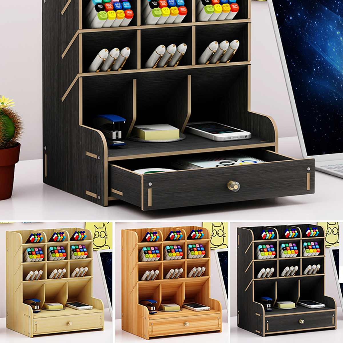 5 Layer Multi-function Pen Box Holder Wooden Pencil Organizer Display Case With Drawer Office School Accessories Desktop Storage