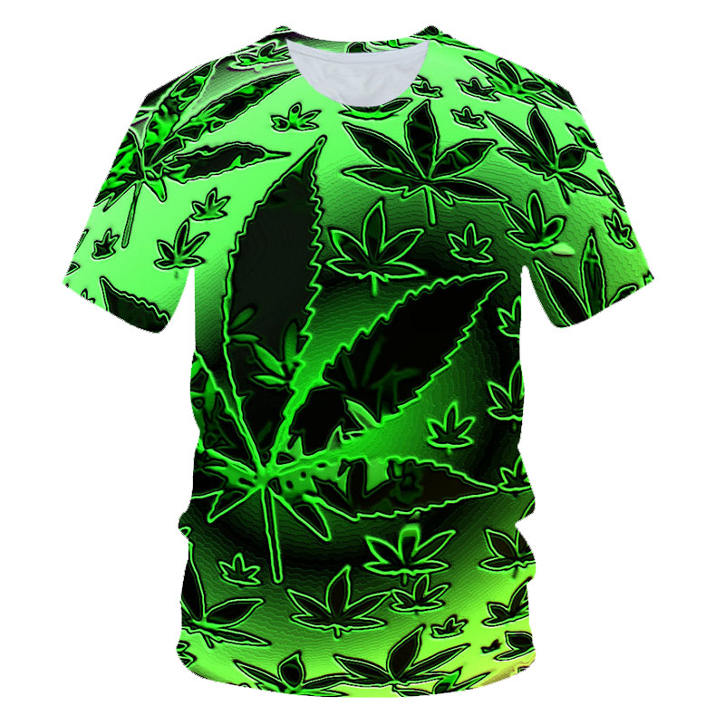 Funny Natural Weeds Cool Fresh Green Weed Leaves Skull Full Print 3D T-shirt Cool Man's Top Tee Summer Outfit Dropship