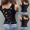 Woman T shirts Women Sleeveless Black O-Neck Bandage Hollowing Out T-Shirt Graphic T Shirts