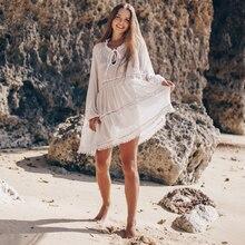 Tunics for Beach Swimsuit Cover up Women Swimwear White Kaftan Beach Cover up Beachwear Pareo Beach Dress Saida de Praia #Q1056