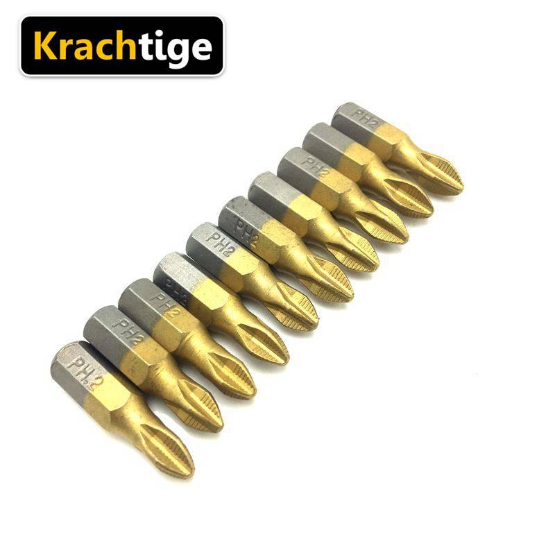 """Krachtige 10pcs 25mm Screwdriver Head 1/4"""" Shank Anti Slip PH2 Titanium Coated Screwdriver Drill Bits"""