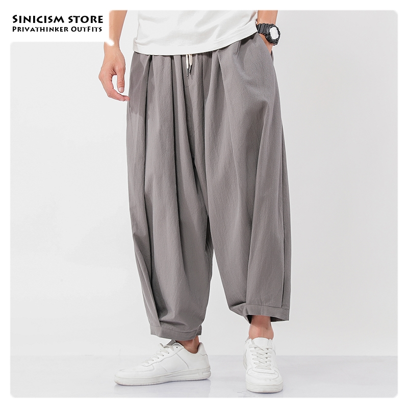 Sincism Store Men's Wide Wide Trousers Chinese Style Casual Harem Pants 2019 Autumn Solid Color Oversize Man Pants Plus Size 5XL
