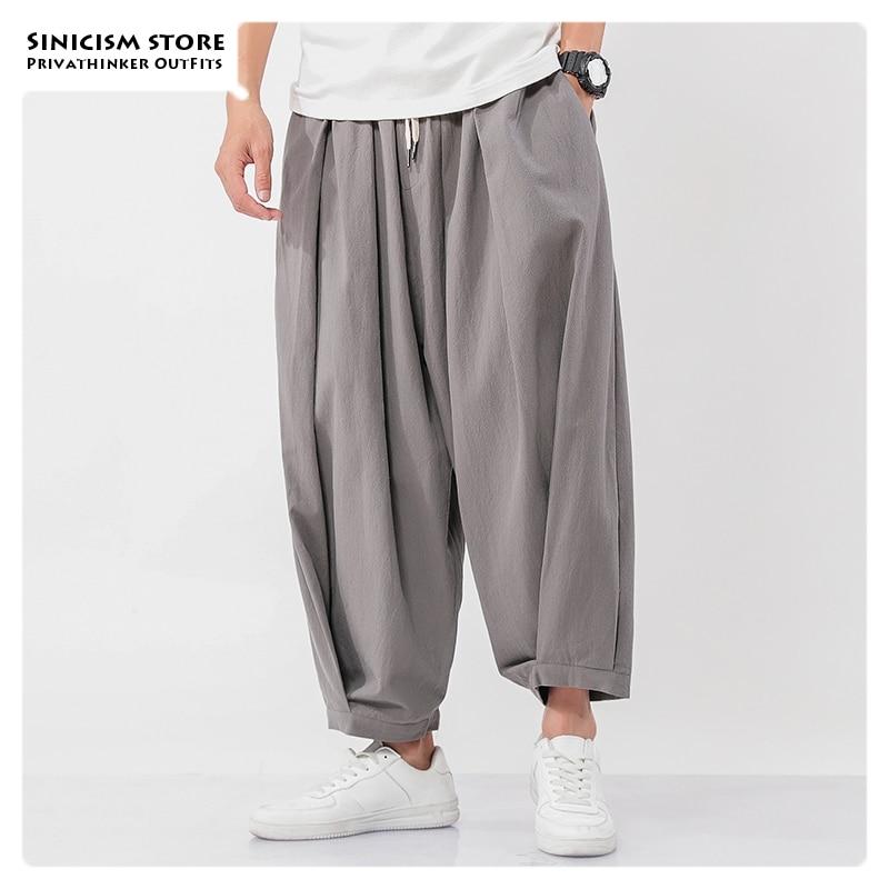 Sincism Store Men's Wide Wide Trousers Chinese Style Casual Harem Pants 2020 Autumn Solid Color Oversize Man Pants Plus Size 5XL