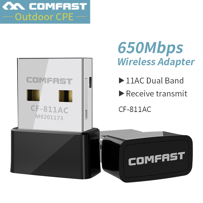 Comfast 650Mbs USB Wireless 2.4G&5G Wifi Adapter High Speed Network Card RTL8811 Dual Band 802.11 AC Antenna For Laptop Desktop