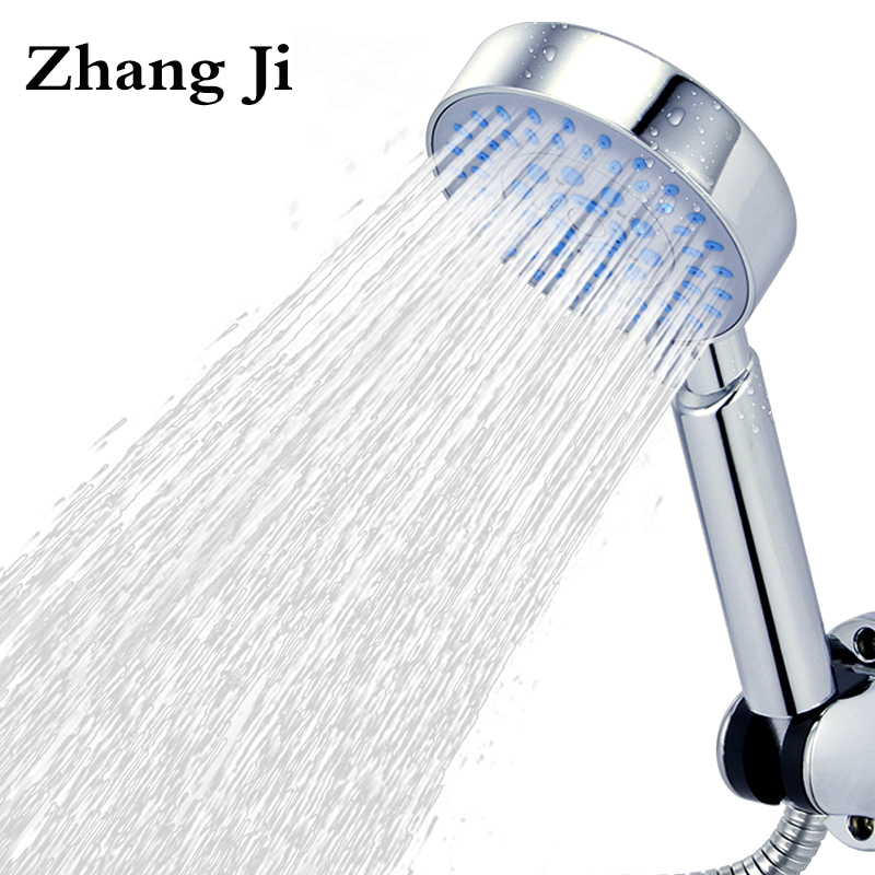 High Quality Five Function Silica Gel Holes Shower Head Water Saving With Chrome Showerhead Rainfall Round Handheld Shower ZJ006