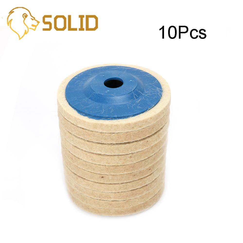 Wool Polishing Pads 100MM Buffing Angle Grinder Wheel Felt Polishing Disc Pad Set For Angle Grinder Abrasive Rotary Tool 10Pcs