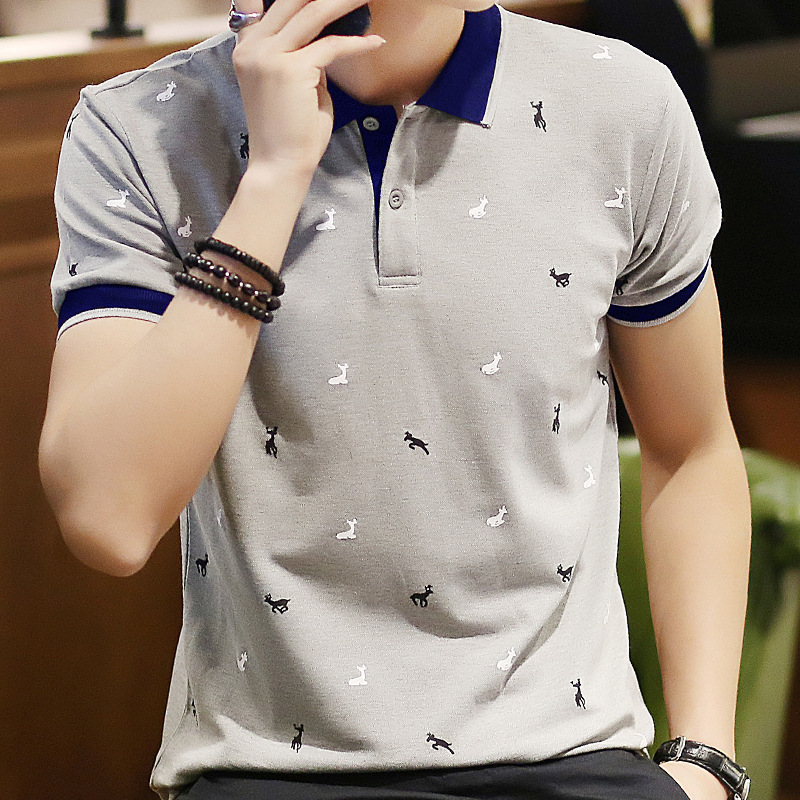 Summer New Style Men Fold-down Collar Deer Pure Cotton Polo Shirt Large Size Casual Business Short-sleeved Polo Shirt