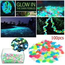 100 sztuk świecące w ciemności kamienie świecące kamienie fluorescencyjne jasne kamyki świecące kamienie do dekoracji ogrodu akwarium tanie tanio Pebbles Kamień