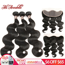 Malaysian Body Wave Hair with Frontal Human Hair Bundles with Frontal Closure 3 Bundles With Frontal Remy Hair Weave Bundles(China)