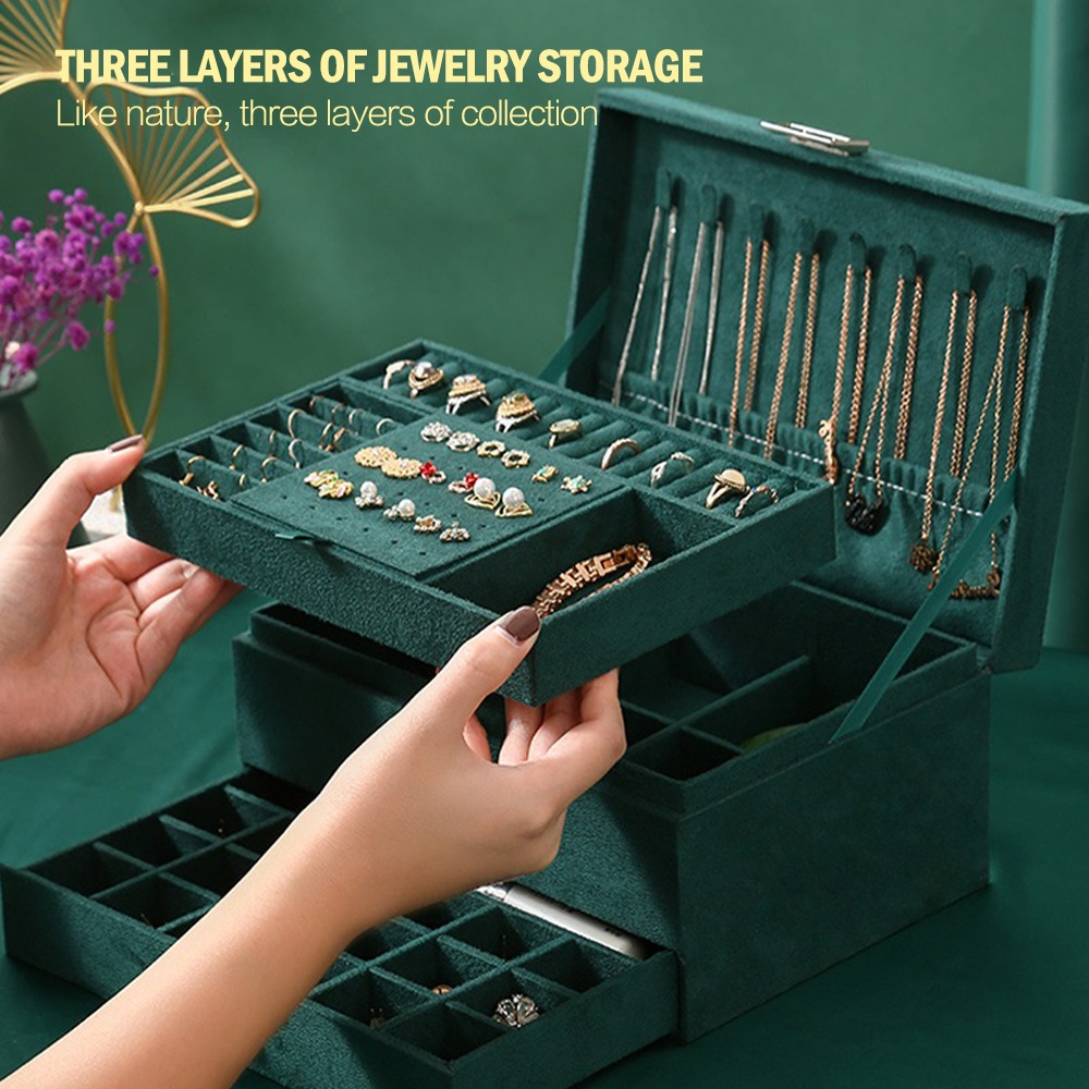 2021 New 3-layers Green Stud Jewelry Organizer Large Ring Necklace Makeup Holder Cases Velvet Jewelry Box with Lock for Women