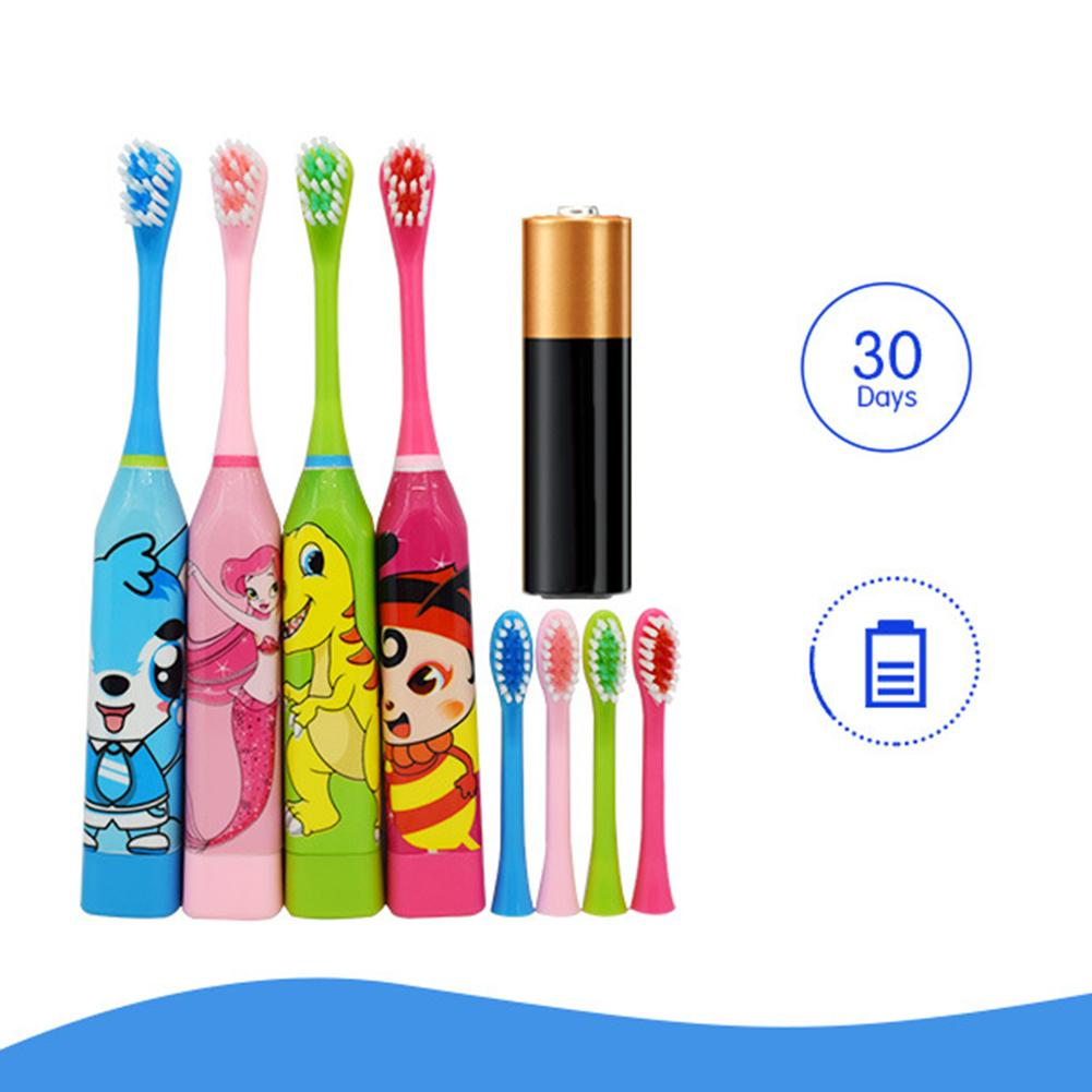 Children  Double-sided Kids Waterproof Ultrasonic Tooth Brush Automatic Electric Toothbrush With With 2pcs Replacement Head