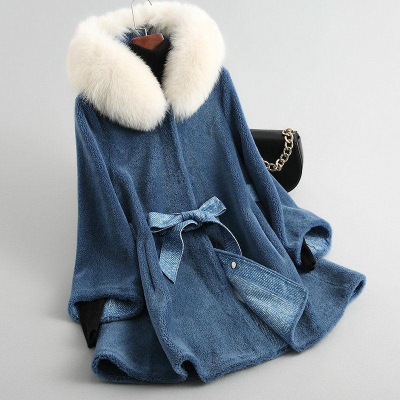 Real Women Wool Fur Coat With Natural Fox Fur Collar Hooded Sheep Shearling Jacket Thick Warm Winter Coats 18163 18163 S