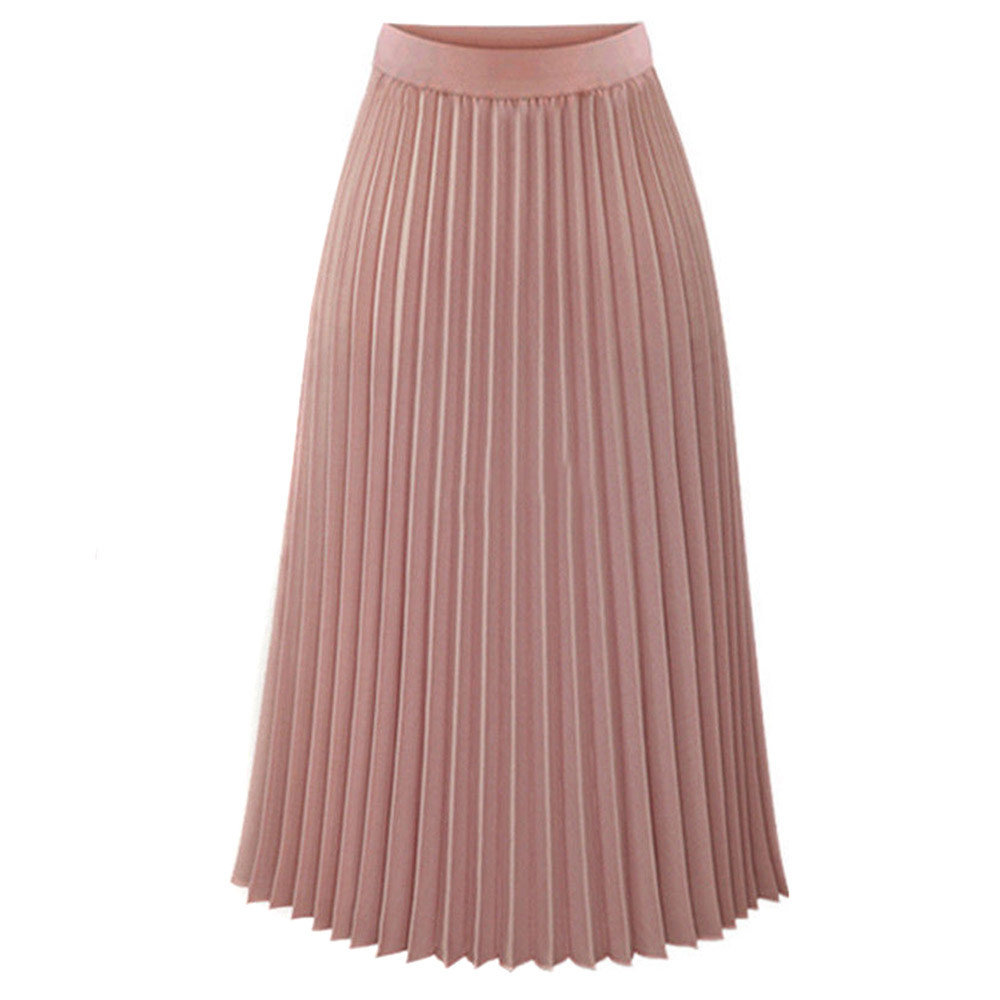 Женская модная юбка, однотонная, плиссированная, элегантная, ампир, миди, повседневная юбка, осень, эластичная талия, макси юбка, юбка женска