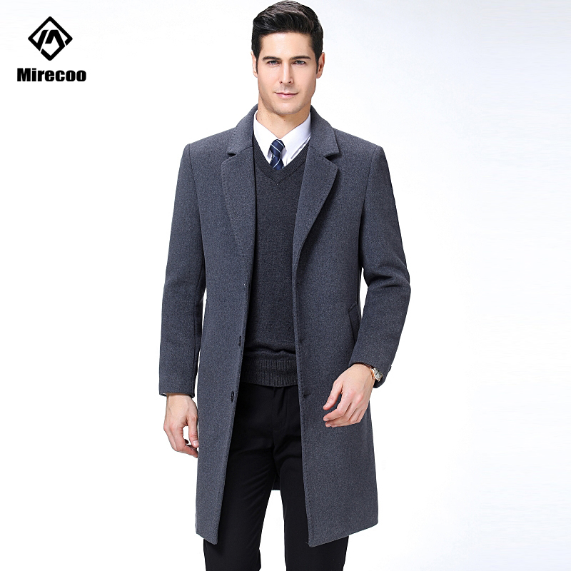 Men's Wool Coat Winter Solid Soft Long Trench Jacket Male Single-Breasted Turn-down Collar Business Casual Overcoat Parka 2019