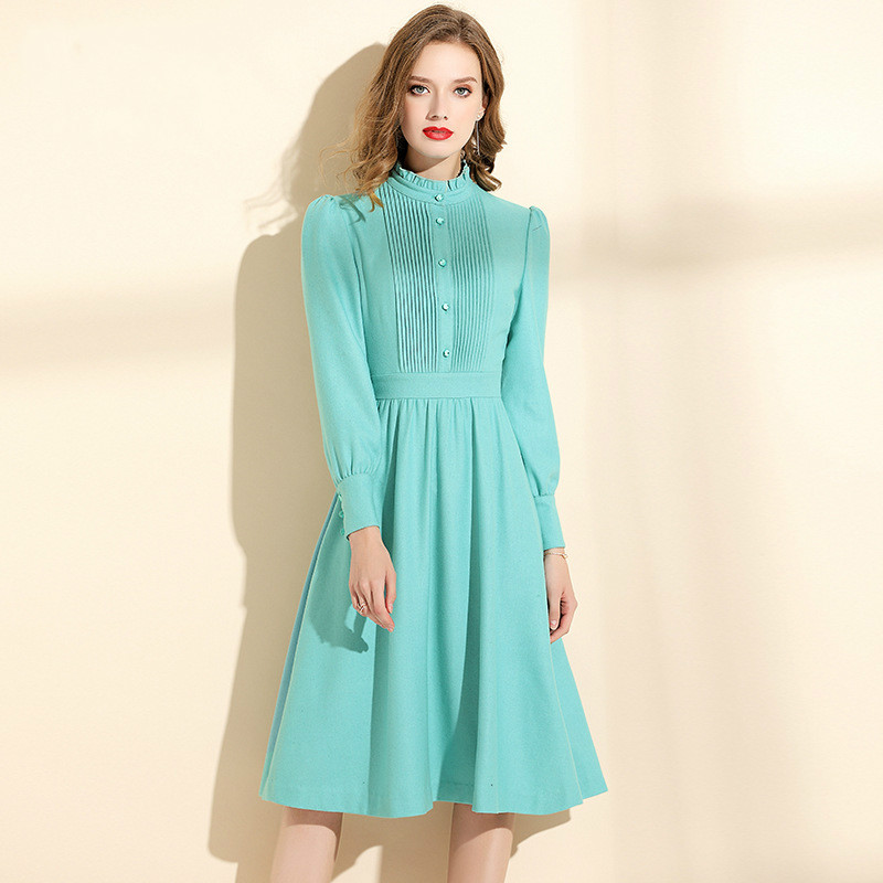 Winter Dress Women 2019 New Fashion Solid Color Stand Collar Long Sleeves Green Mint Elegant Slim A-Line Wool Dress Female M-XXL