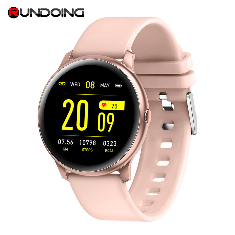 RUNDOING <font><b>KW19</b></font> <font><b>smart</b></font> <font><b>watch</b></font> <font><b>women</b></font> Blood Oxygen Pressure smartwatch Heart Rate smartwatch remote control music IOS Android image