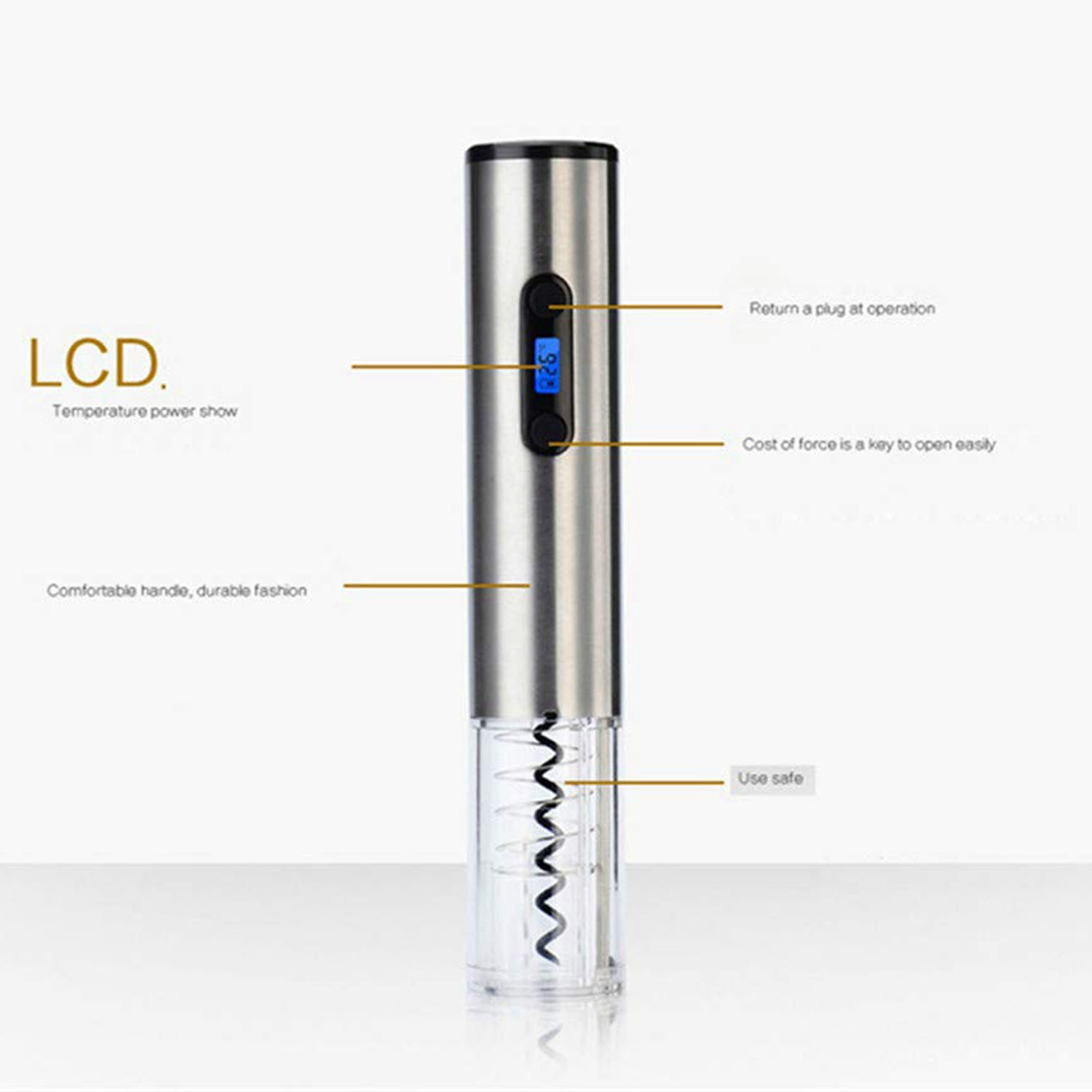 Electric Corkscrew Electric Stainless Steel Wine Bottle Opener With Charging Stand Lcd Battery Indicator, Silver (Eu Plug)