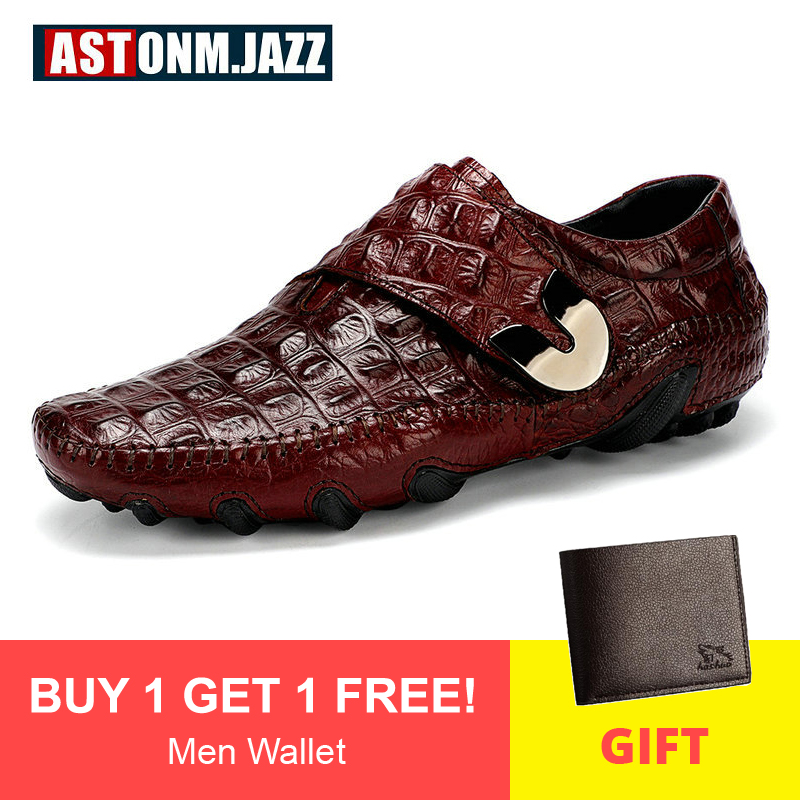 Men's Leather Casual Shoes Men Loafer Crocodile Genuine Leathers Moccasins Men Loafers Leather Casual Boat Shoes Octopus Sole