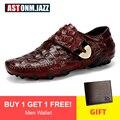Sapatos casuais de couro masculino mocassins de couro de crocodilo couro genuíno mocassins masculinos sapatos de barco casual sola de polvo