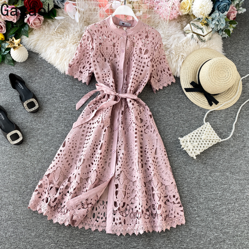 Gagaok Women Office Lady Dress Spring Autumn New Solid O-Neck Sashes Empire Knee-Length Slim Sweet Chic Female Fashion Dresses