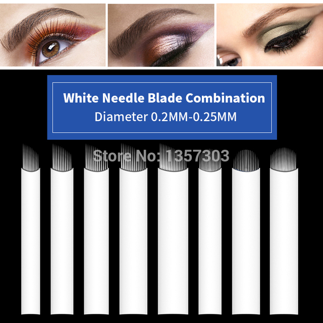 50pcs White 0.20mm Microblading Needles for Tattoo Lamina Tebori 7 9 11 12 14 Flex Blades U Shape Permanent Makeup Needle Blade 1