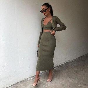 2020 New Women Three piece set Knit Cardigan Long Sleeves & Midi Skirt high-waist & Camisole Crop Top Strap Elastic