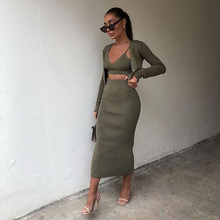 2021 New Women Three piece set Knit Cardigan Long Sleeves & Midi Skirt high-waist & Camisole Crop Top Strap Elastic