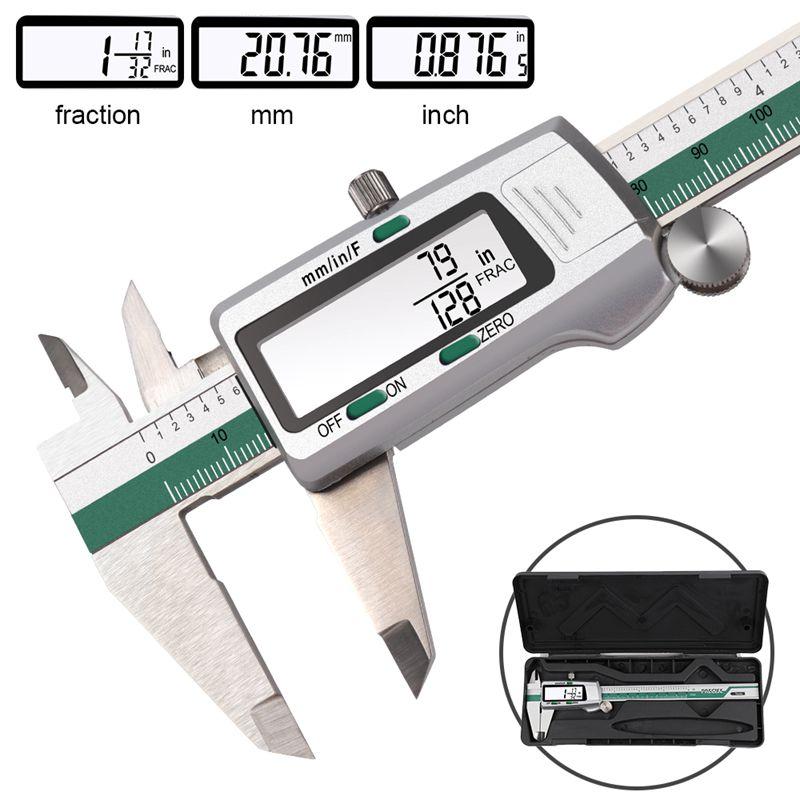 De aço inoxidável digital display lcd pinça 150mm fração mm Polegada 0.01mm precisão lcd vernier caliper ferramentas de medição com caixa