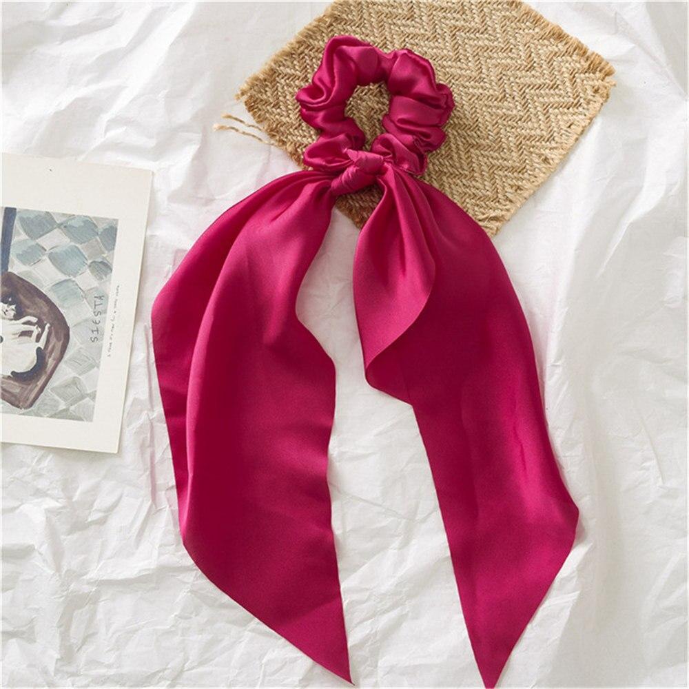 Летние Стильные многоцветные женские головные уборы тюрбан DIY лук стримеры резинки для волос конский хвост галстуки твердые головной убор - Цвет: Red