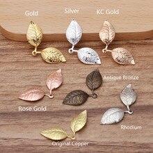 50 Uds. De dijes de hojas colgantes de estilo Vintage, accesorios europeos para collar, pulsera, joyería, Color dorado, 13x32mm