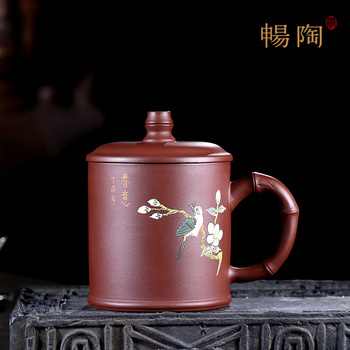 Yixing famous artist: purple sand cup, pure hand-made Kungfu cup, cover cup, make tea, purple mud, spring flavor 440cc