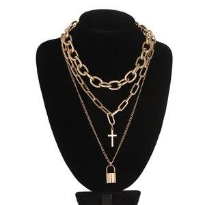 Многослойная гранж, астетическое украшение, винтажная цепочка на шею в стиле панк, ожерелье с подвеской в виде крестиков, Женский Чокер-цепочки, аксессуары для Гота