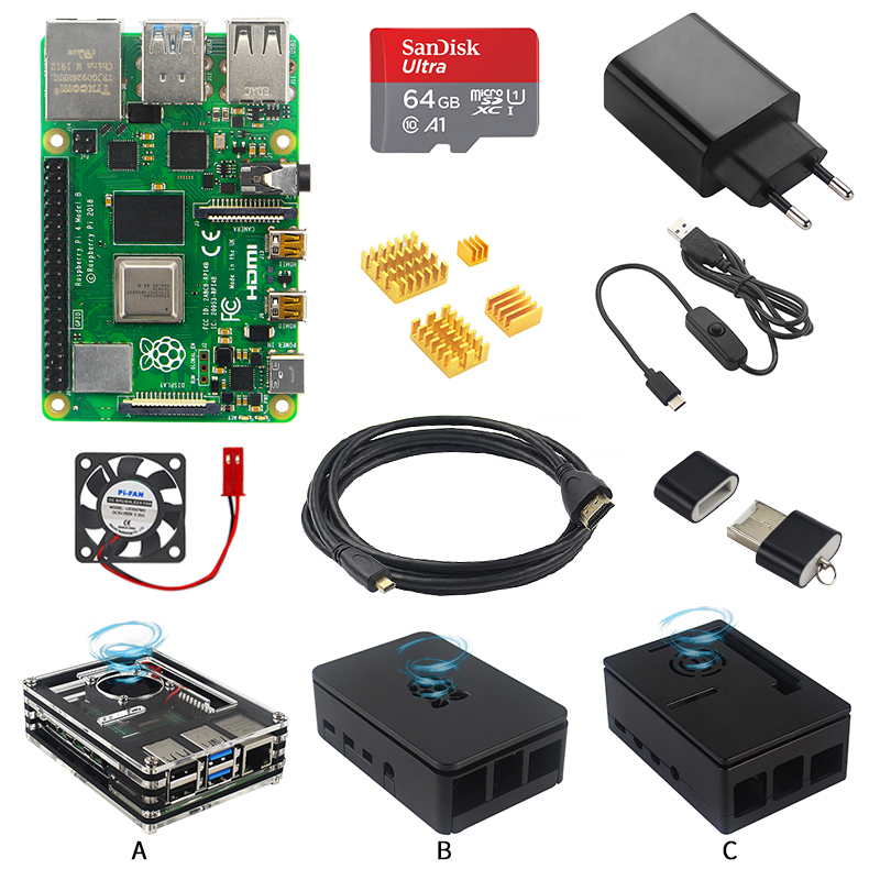 Original <font><b>Raspberry</b></font> <font><b>Pi</b></font> <font><b>4</b></font> <font><b>Modell</b></font> <font><b>B</b></font> Starter Kit Fall + Power Adapter + HDMI Kabel + Kühlkörper + 16/32/64GB SD Karte für <font><b>Raspberry</b></font> <font><b>Pi</b></font> <font><b>4</b></font> image