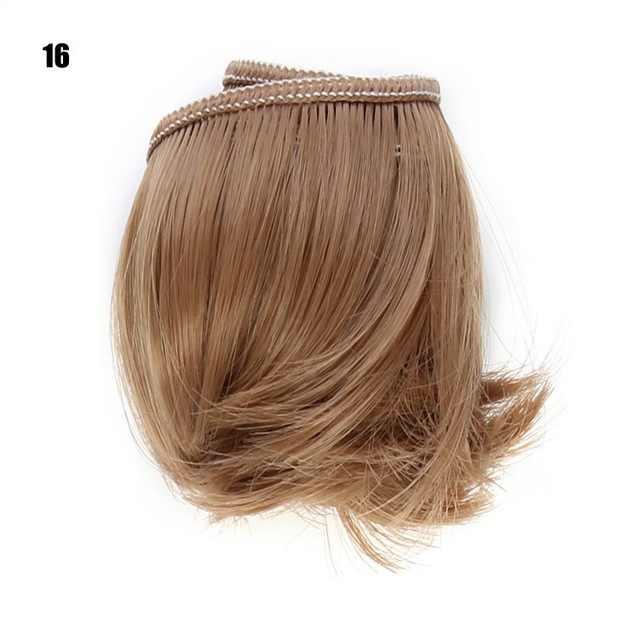 1Pcs 5Cm * 100Cm Korte Krullen Haar Voor 1/3 1/4 1/6 Bjd Pop Diy Pruiken Rood Roze blauw Groen Licht Goud Bruin Roze
