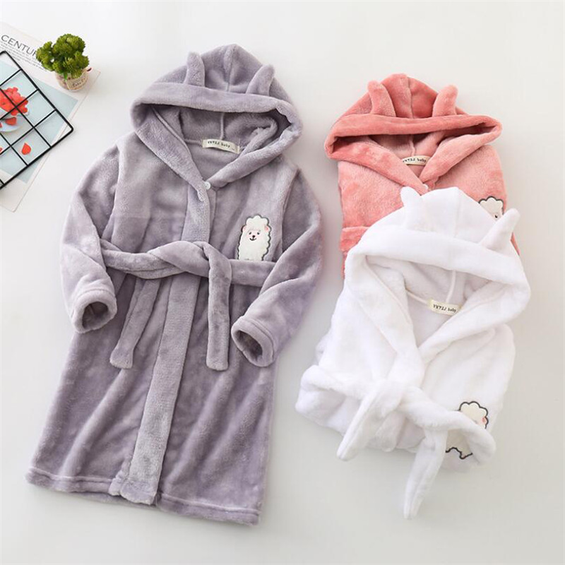 Kids Bathrobes Sleepwear Nightgowns Soft Pajamas Flannel Sleep Robe Toddler