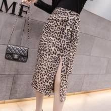 2019 Autumn Suede Skirt Women High Waist Woman Sexy Leopard Print Split Evening Party Skirt OL Office Work faldas saias DC532(China)
