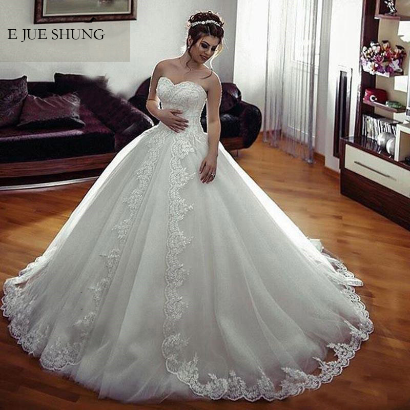 E JUE SHUNG White Vintage Lace Appliques Ball Gown Wedding Dresses Lace Up Back Sweetheart Wedding Gowns Bride Dresses