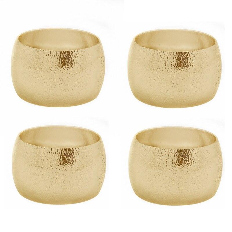 TAI Top 6 шт. металлическая для салфеток, кольца для свадьбы, рождественской вечеринки, отеля, кухни, круглая пряжка, держатель для салфеток, декор стола - Цвет: Gold 4pcs