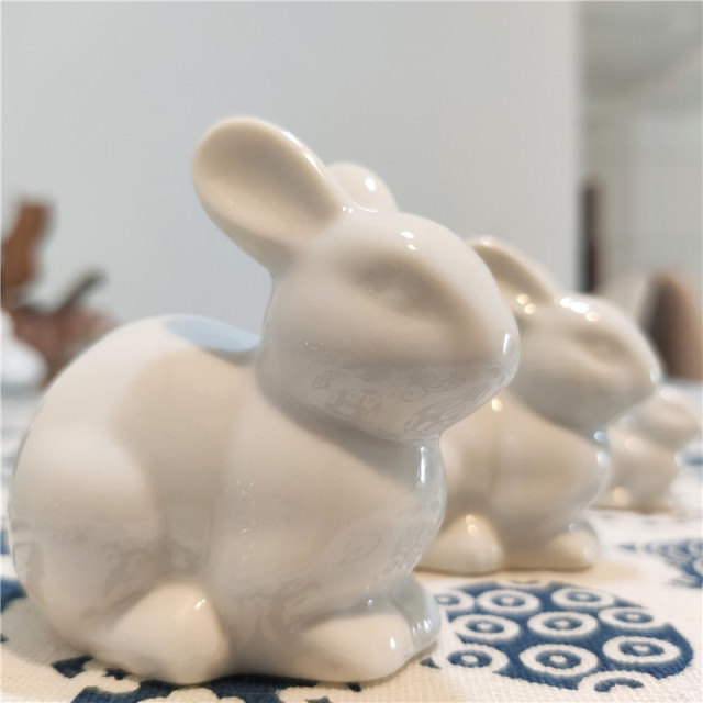 lovely ceramic rabbit family hare nordic style white home decoration desktop ornaments craft miniature fairy landscape DHLL01 3