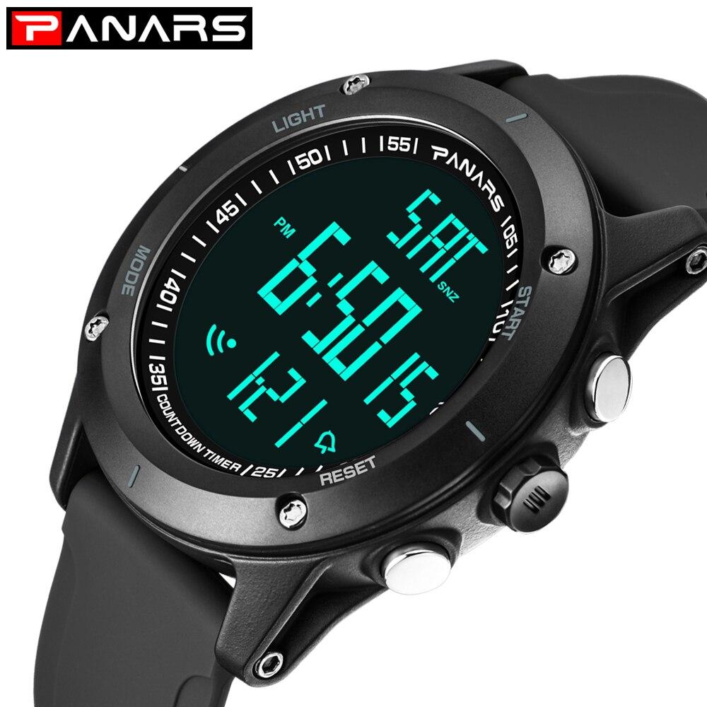 PANARS Men's Sports Watch Fashion Digital Mens Watches Waterproof Countdown Dual Time Shock Wristwatches Relogio Masculino
