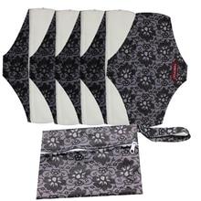 Good Quality Mama Cloth Pads  Bamboo  Washable  Sanitary Napkins 5 PCS WITH one bag