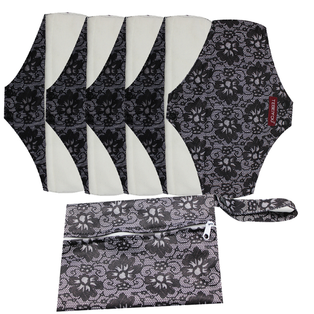 Gute Qualität Mama Tuch Pads Bambus Waschbar Sanitär Servietten 5 PCS MIT einem beutel