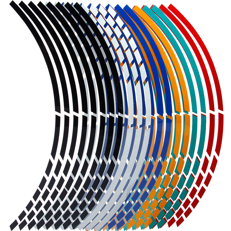 "16pcs Car Wheel Tire Stickers 17""18"" Strips Motorcycle Reflective Rim Tape Motorbike Auto Decals(China)"